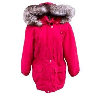 Vintage 70s Fur Hood Parka Eskimo Coat Jacket Red